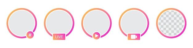 Set sjablonen voor verhalen over sociale netwerkelementen