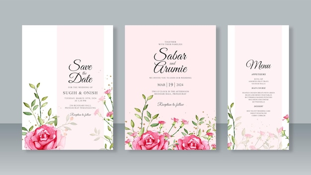 Set sjabloon bruiloft kaart uitnodiging sjabloon met rozen aquarel en glitter