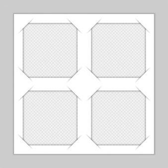 Set sjabloon fotolijsten met schaduw op transparante achtergrond