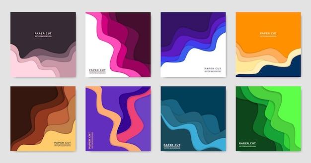 Set sjabloon in papier gesneden kleurrijk ontwerp voor social media post-reclame