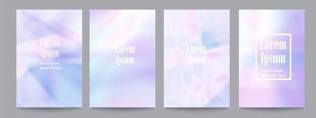 Set sjabloon met holografische achtergronden. trendy covers.