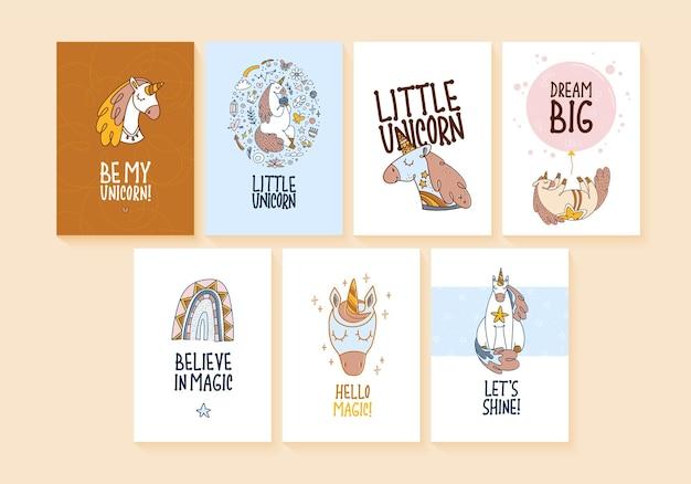 Set sjabloon posters met schattige magische eenhoorn