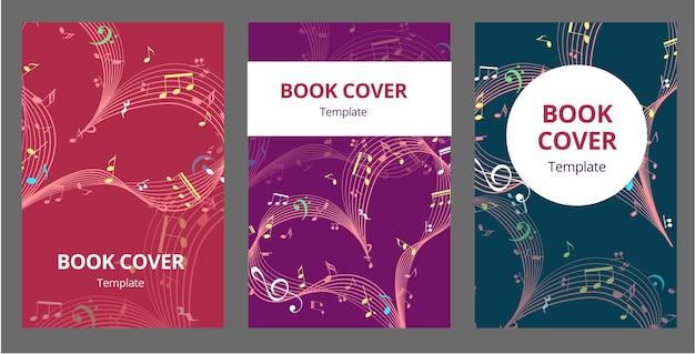 Set sjabloonboekje omslag voor valentijnsdag met muziekharten op een lichte achtergrond