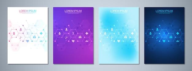 Set sjabloonbrochures met moleculenontwerp