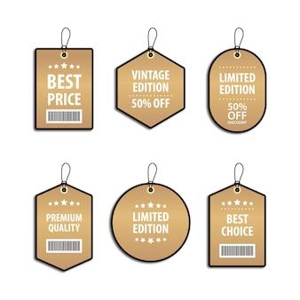 Set sjabloonontwerp luxe gouden prijskaartje en kortingslabel voor verkoop Premium Vector
