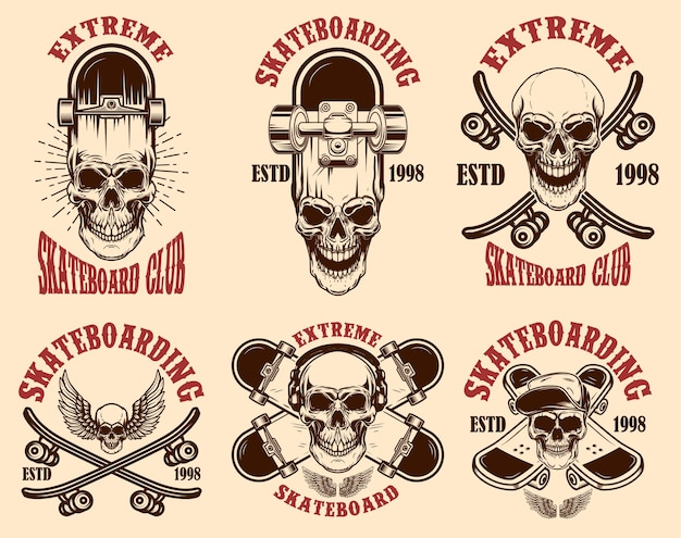 Set skateboarden club emblemen met schedels. ontwerpelement voor poster, logo, teken, label, t-shirt. vector illustratie
