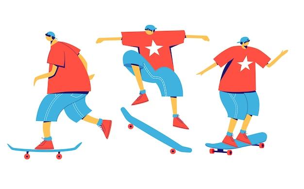 Set skateboarders. platte karakters.