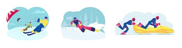 Set skikiting snowboardkiting bobslee en ski slalom sportactiviteiten. sporters rijden op ski's en snowboard met vlieger. concurrenten op bob, skiër player cartoon platte vectorillustratie, illustraties
