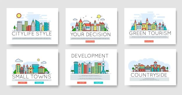 Set skylines van de stad en verschillende gebouwen in de voorsteden in de skyline. dun lijnconcept