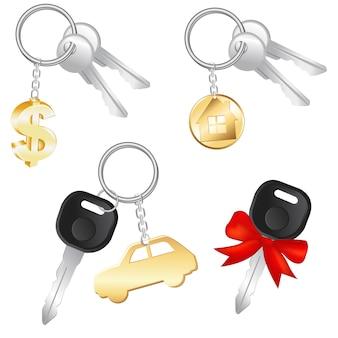Set sleutels met charme in de vorm van dollar, auto en huis, op witte achtergrond, illustratie