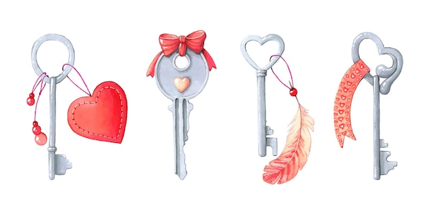 Set sleutels voor valentijnsdag.