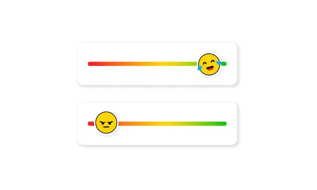 Set slider emoji voor sociale media. feedback-emoticon. beoordelingen of beoordelingsschaal met emoji die verschillende emoties vertegenwoordigt. niveau van tevredenheidsbeoordeling. klantoverzicht.
