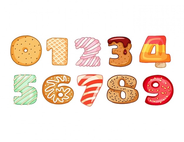 Set smakelijke nummers symbolen
