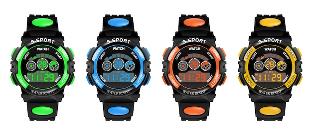 Set smartwatch fitnessarmband met stappenteller en snelheidsmeter,