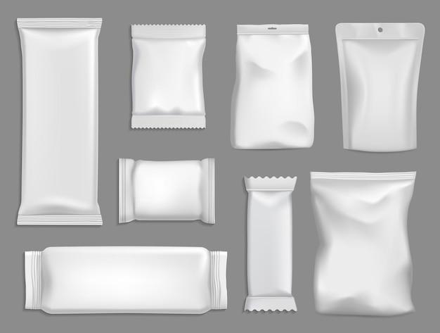Set snack pakketten geïsoleerd op grijs