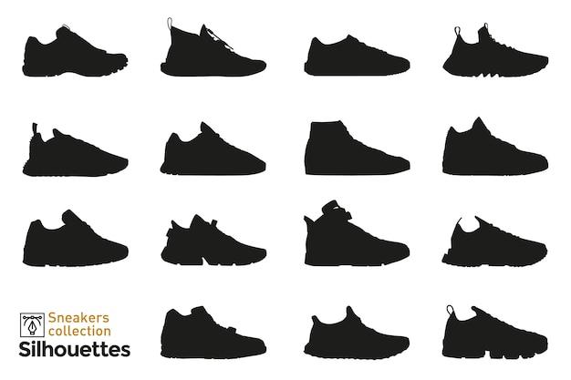 Set sneakers silhouetten voor man en vrouw. mode-elementen. kleding schoenen pictogrammen voor.