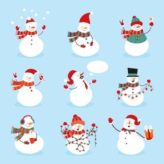 Set sneeuwpop karakter illustratie met eenvoudige stijl.