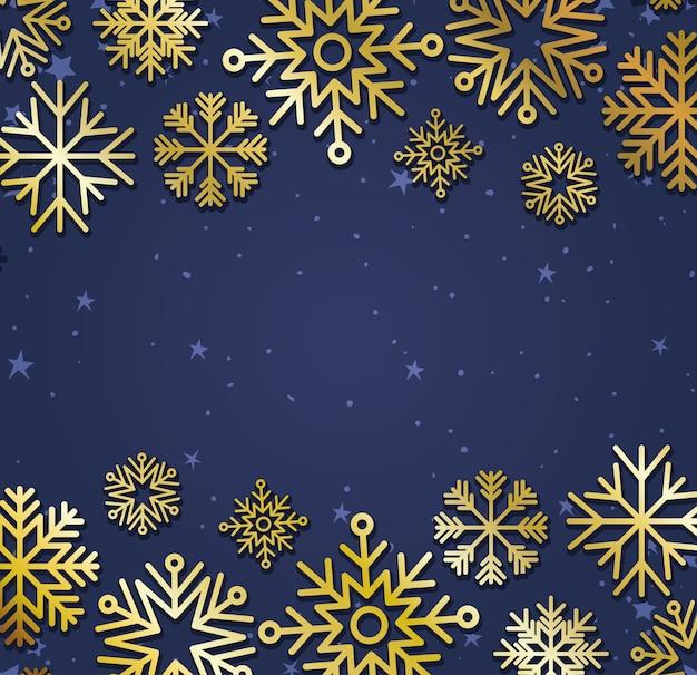Set sneeuwvlokken op paarse achtergrond.