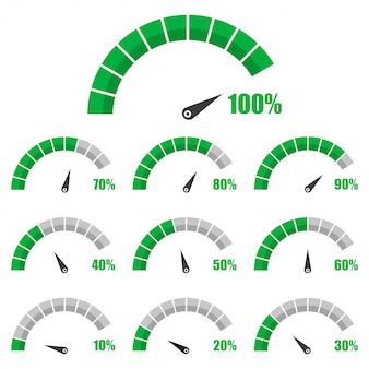 Set snelheidsmeter of beoordelingsmeter tekenen infographic meterelement met percentage