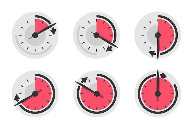 Set snelheidsmeter timer in een plat design. vector illustratie