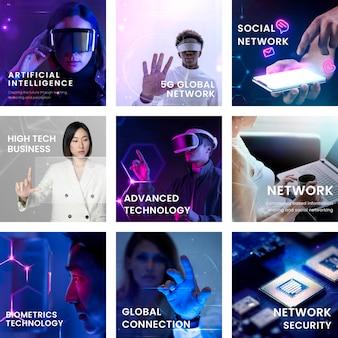 Set social media postsjabloon met geavanceerd technologieconcept
