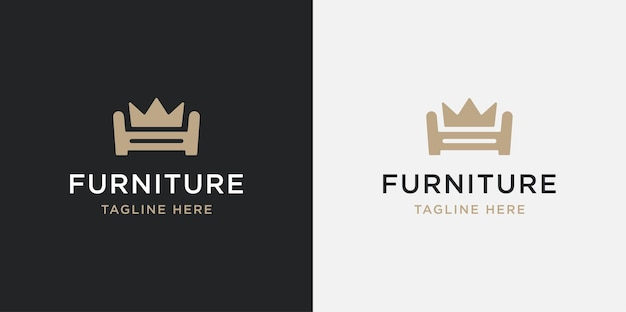 Set sofa king logo-ontwerp