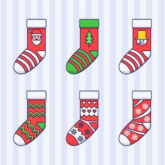 Set sokken kerst illustratie