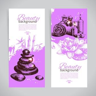 Set spa-banners. vintage handgetekende schets vectorillustraties