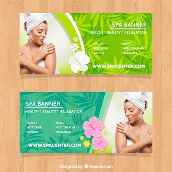 Set spa center banners met vrouw ontspannen