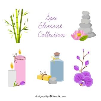 Set spa-elementen met kaarsen en aromatische oliën Gratis Vector