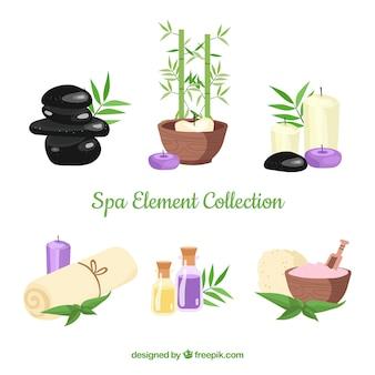 Set spa-elementen met kaarsen en aromatische oliën
