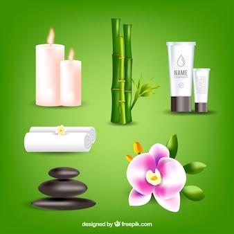 Set spa-elementen met realistische producten