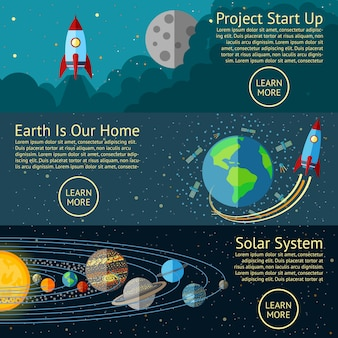 Set space banners concepten - raket opstarten, aarde vanuit de ruimte, zonnestelsel. vector