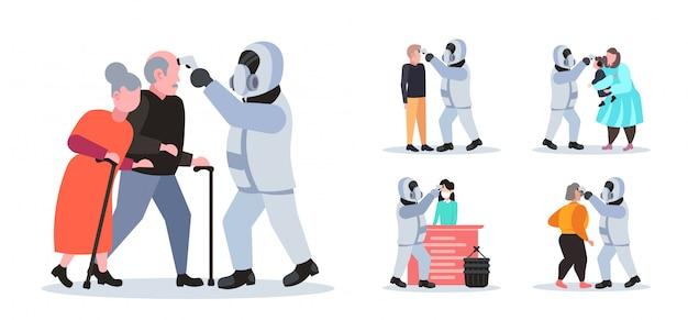 Set specialist in hazmat-pak controleren van temperatuur van mensen die coronavirusinfectie verspreiden epidemie mers-cov-virus wuhan 2019-ncov pandemie gezondheidsrisicoconcept volledige lengte