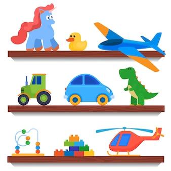 Set speelgoed. spelletjes voor kinderen. zacht speelgoed, auto's, poppen.