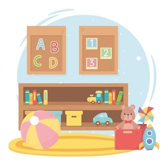 Set speelgoed voor kinderen in een kamer