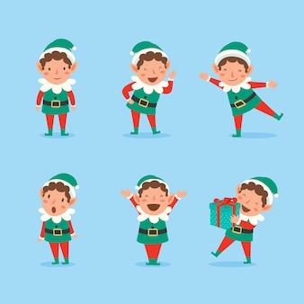 Set speelse kerstelfjes. verzameling van santa claus-helpers.