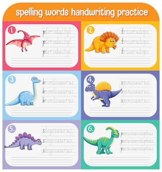 Set spellingswoorden dinosaurus handschrift oefenblad