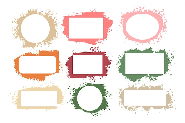 Set splatter grunge frames in vele kleuren
