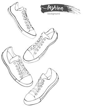 Set sportschoenen of sneakers pictogrammen in verschillende weergaven sketchvector illustration