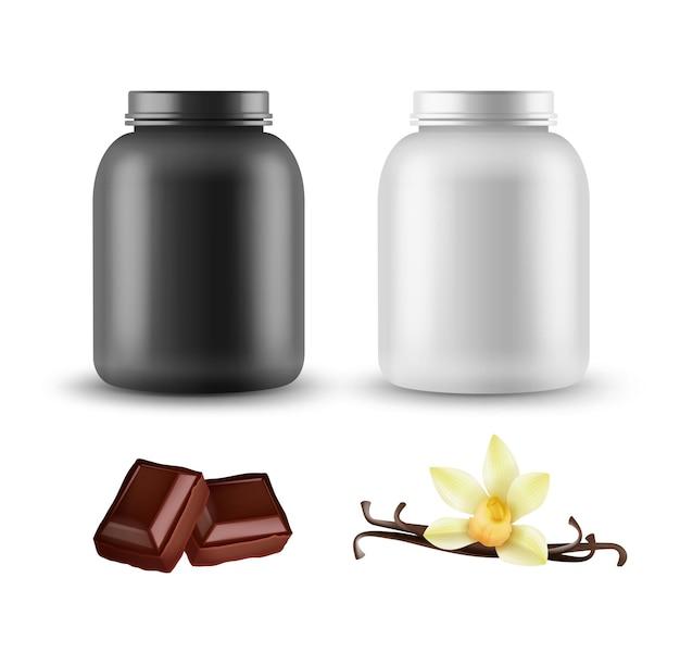 Set sportvoeding container sjablonen geïsoleerd op een witte achtergrond