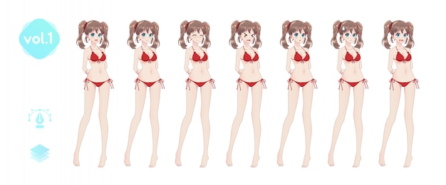 Set sprites emoties anime manggirls in bikini