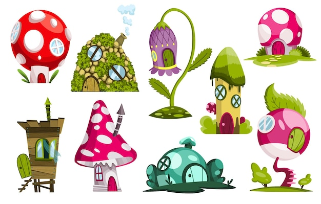 Set sprookjesachtige huizen. verzameling cartoonhuisjes in de vorm van snoep, bloem of paddenstoelen.