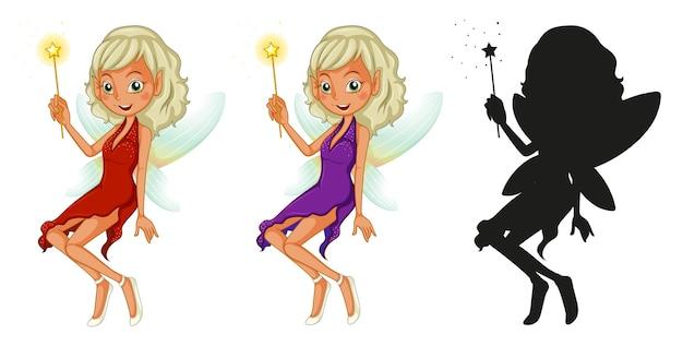 Set sprookjesfiguren en het silhouet op witte achtergrond