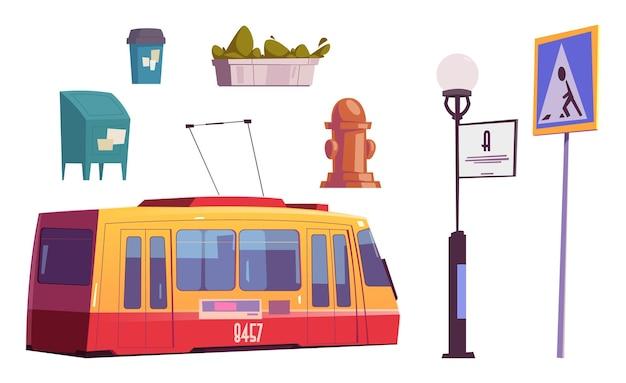 Set stadsitems tram, waterkraan of afvalbak, brievenbus, straatlantaarn met uithangbord, voetganger op zebrapad verkeersbord