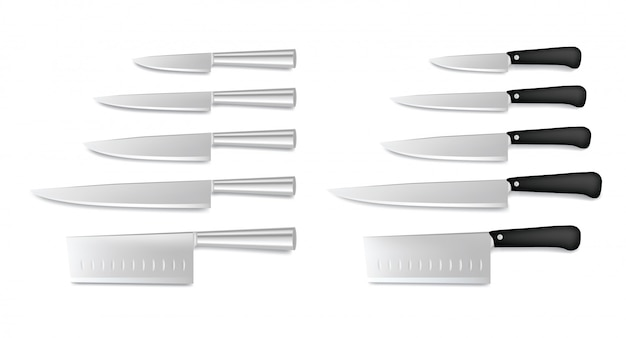 Set stalen keukenmessen geïsoleerd op wit. restaurant chef-kok messen collectie, slagersmes, realistische bestek pictogrammen