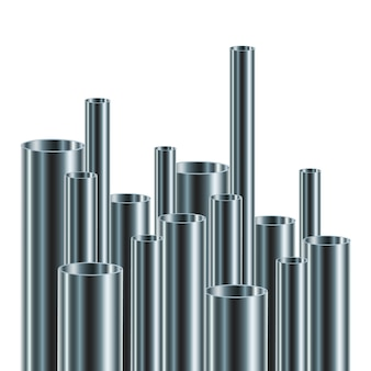 Set stalen of aluminium buizen,. illustratie. glanzende buizen met verschillende diameters.