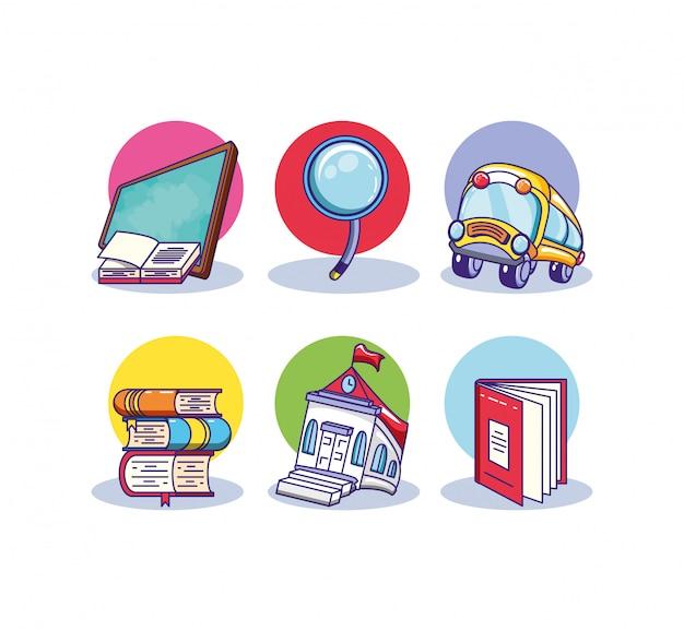 Set stapel boeken en benodigdheden school