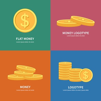 Set stapel munten logo's met kleurrijke achtergrond en ruimte voor tekst.