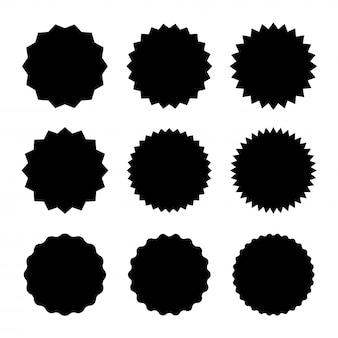 Set starburst badges pictogram. sunburst-stickers voor prijs, promo, kwaliteit, verkooplabels.